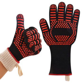 【シングル】高温に耐え800度BBQバーベキュー手袋キッチンシリカゲル電子レンジオーブン手袋二層断熱断熱手袋バーベキュー道具矢印一つ(左右の手に共通)